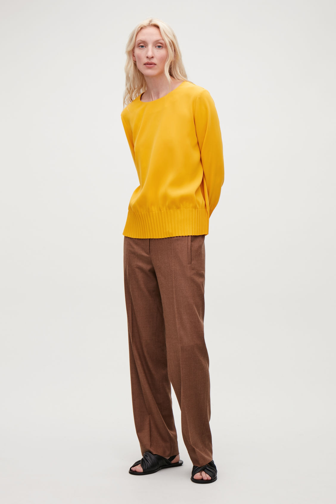 Model front image of Cos pleated blouse in yellow