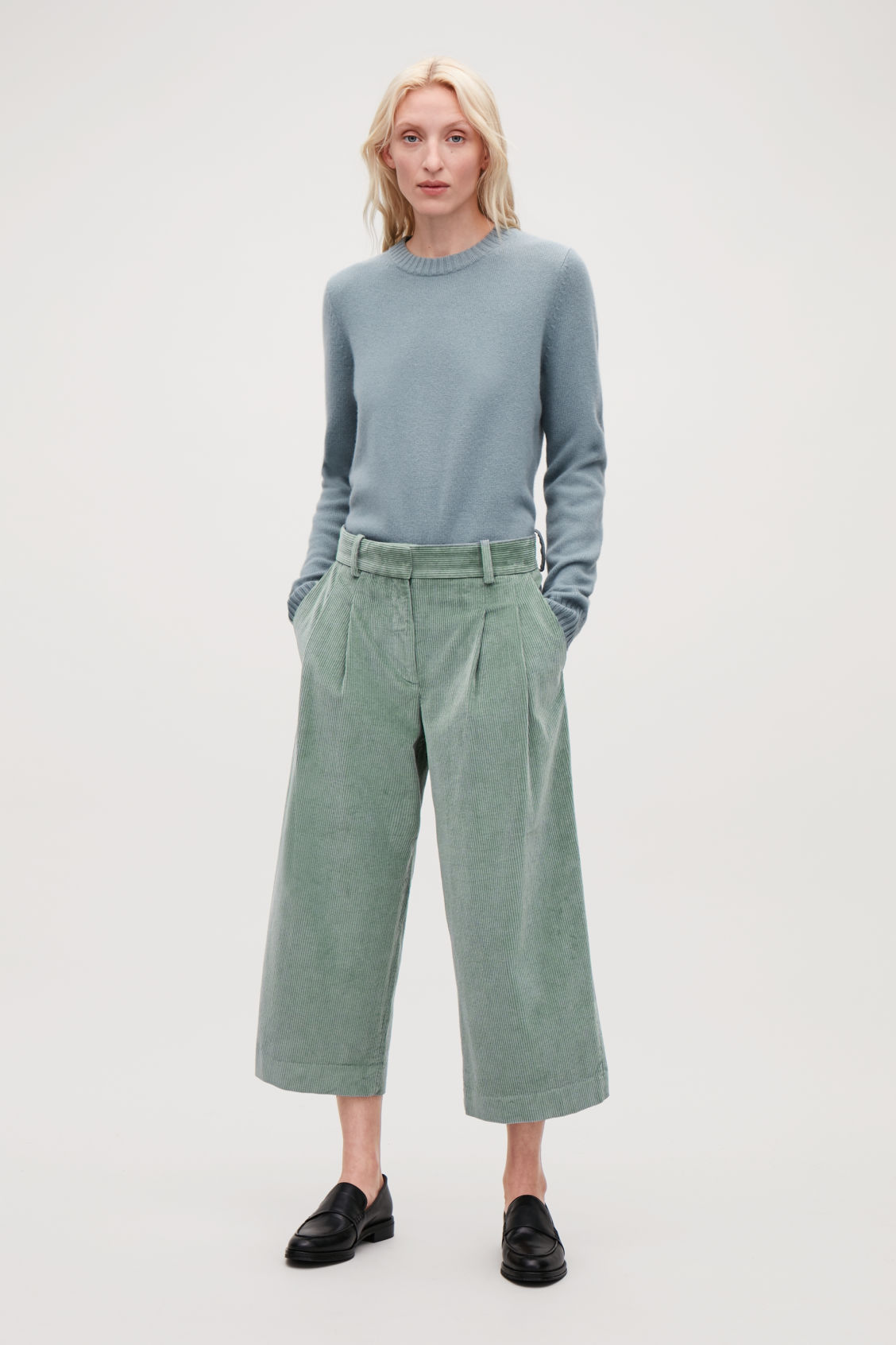 Model front image of Cos wide-leg corduroy trousers in green