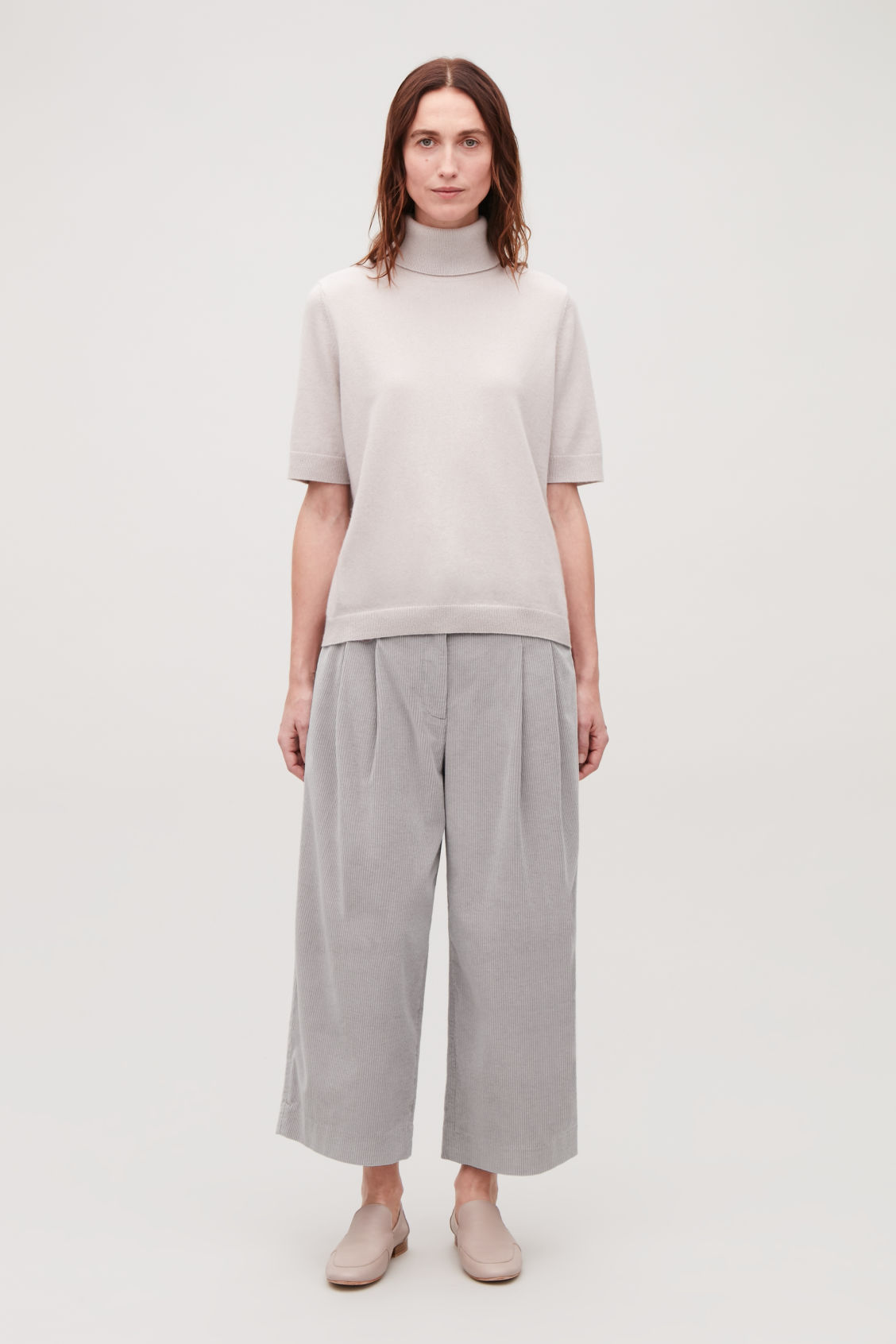 Model front image of Cos wide-leg corduroy trousers in grey