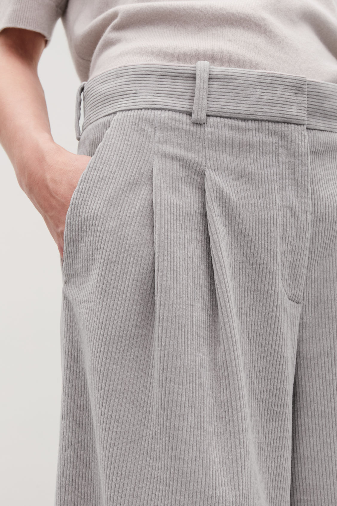 Model side image of Cos wide-leg corduroy trousers in grey