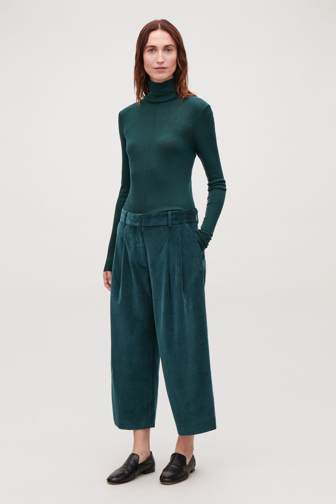 Model front image of Cos wide-leg corduroy trousers in blue