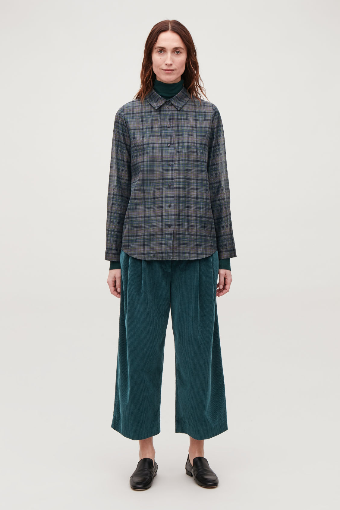 Model side image of Cos wide-leg corduroy trousers in blue