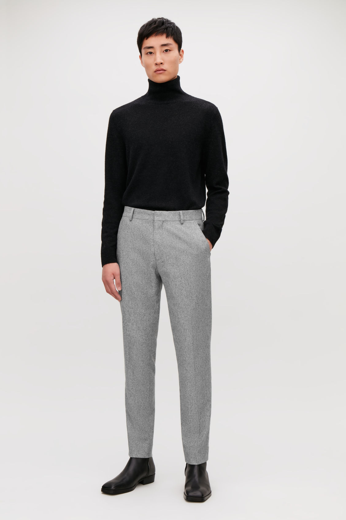 Model front image of Cos slim-fit wool trousers in grey
