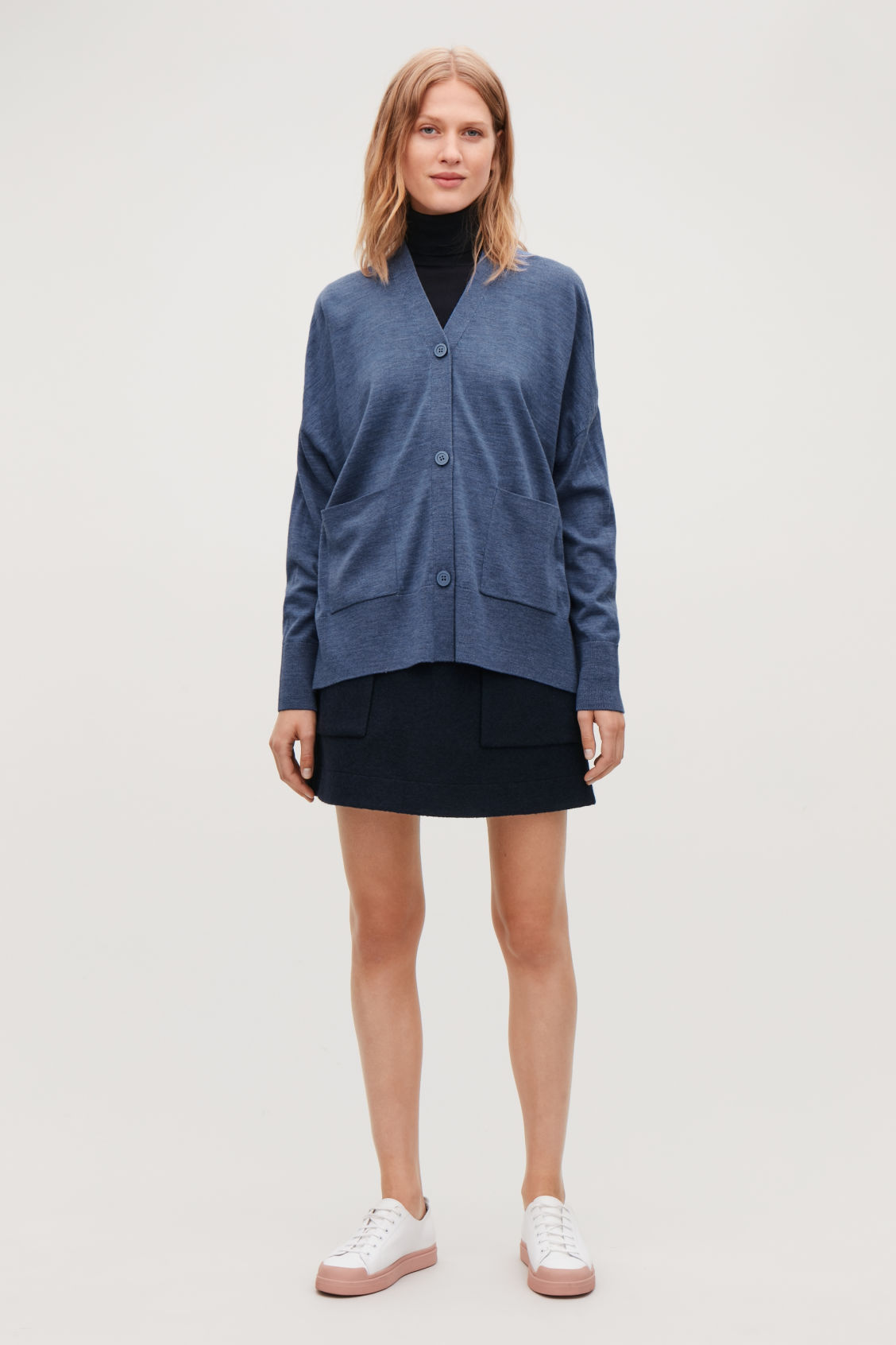 Model front image of Cos draped-back wool cardigan  in blue
