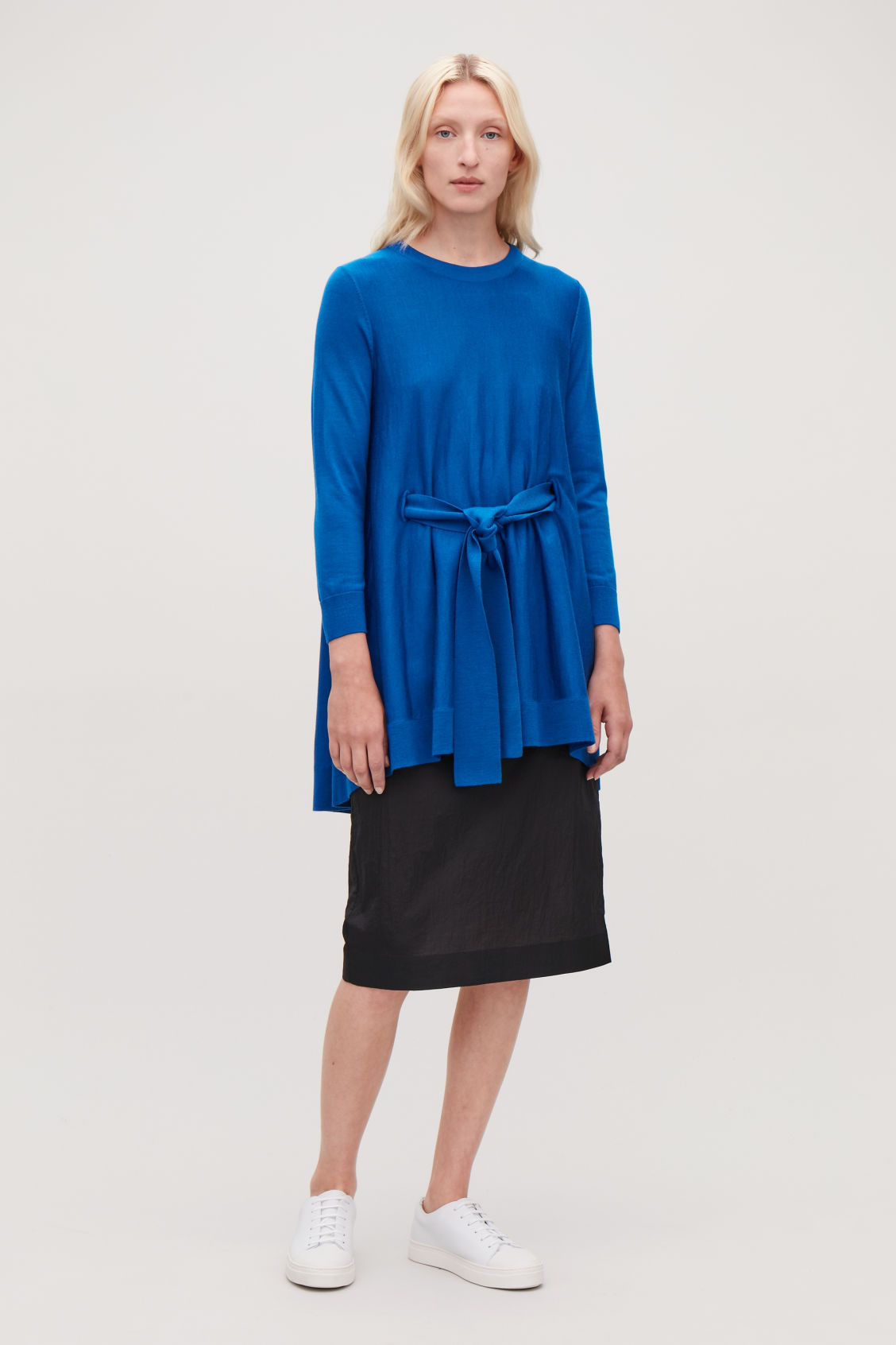 Model front image of Cos belted a-line wool jumper  in blue