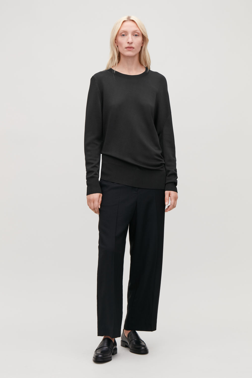 ASYMMETRIC DRAPED KNIT JUMPER