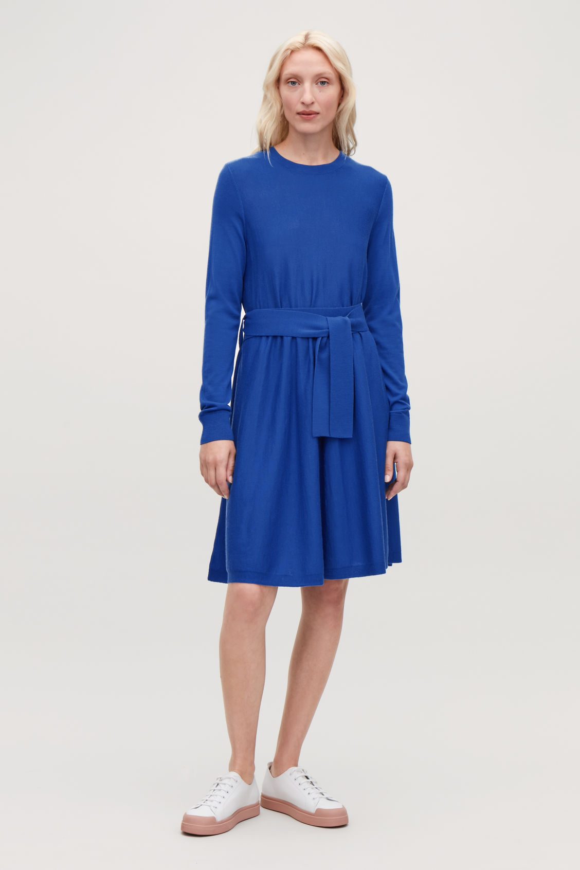 Model front image of Cos a-line merino-wool knit dress in blue