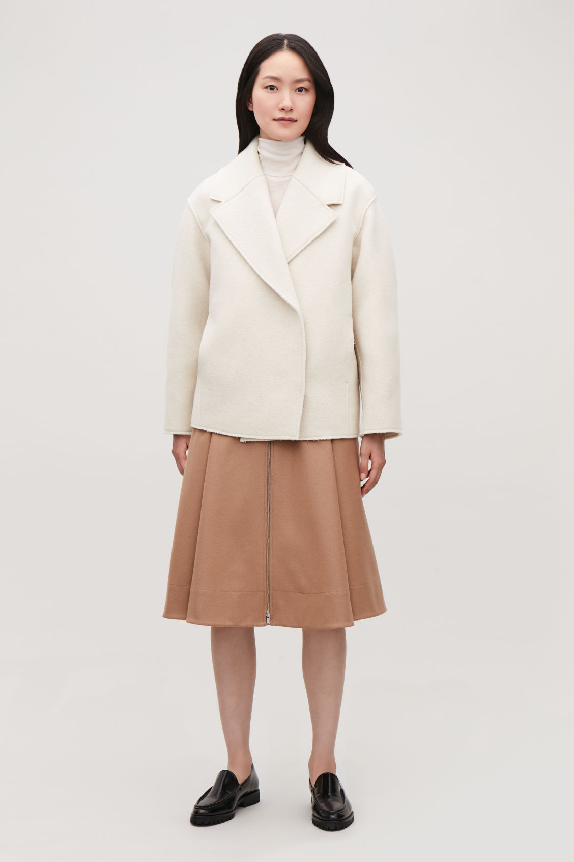 Model front image of Cos oversized-lapel wool coat in neutral