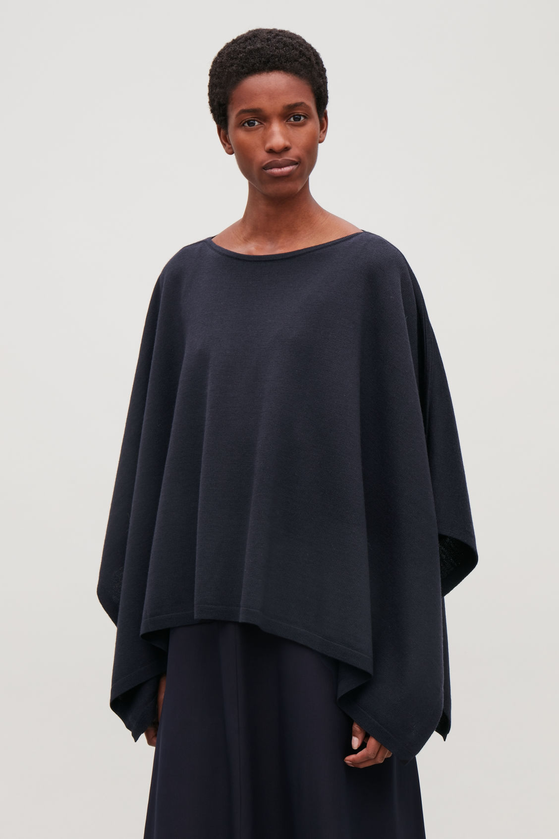 Model side image of Cos wool cape scarf in blue