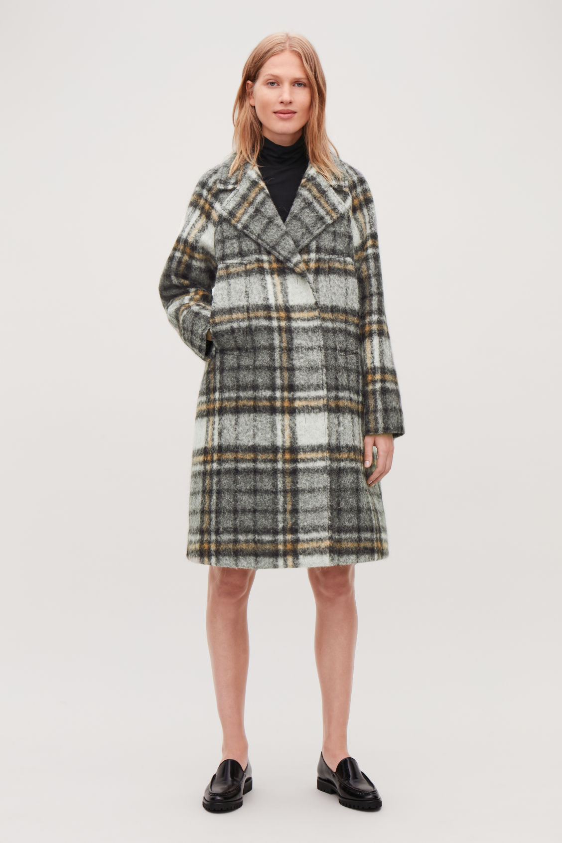 Model side image of Cos checked double-breasted coat in grey
