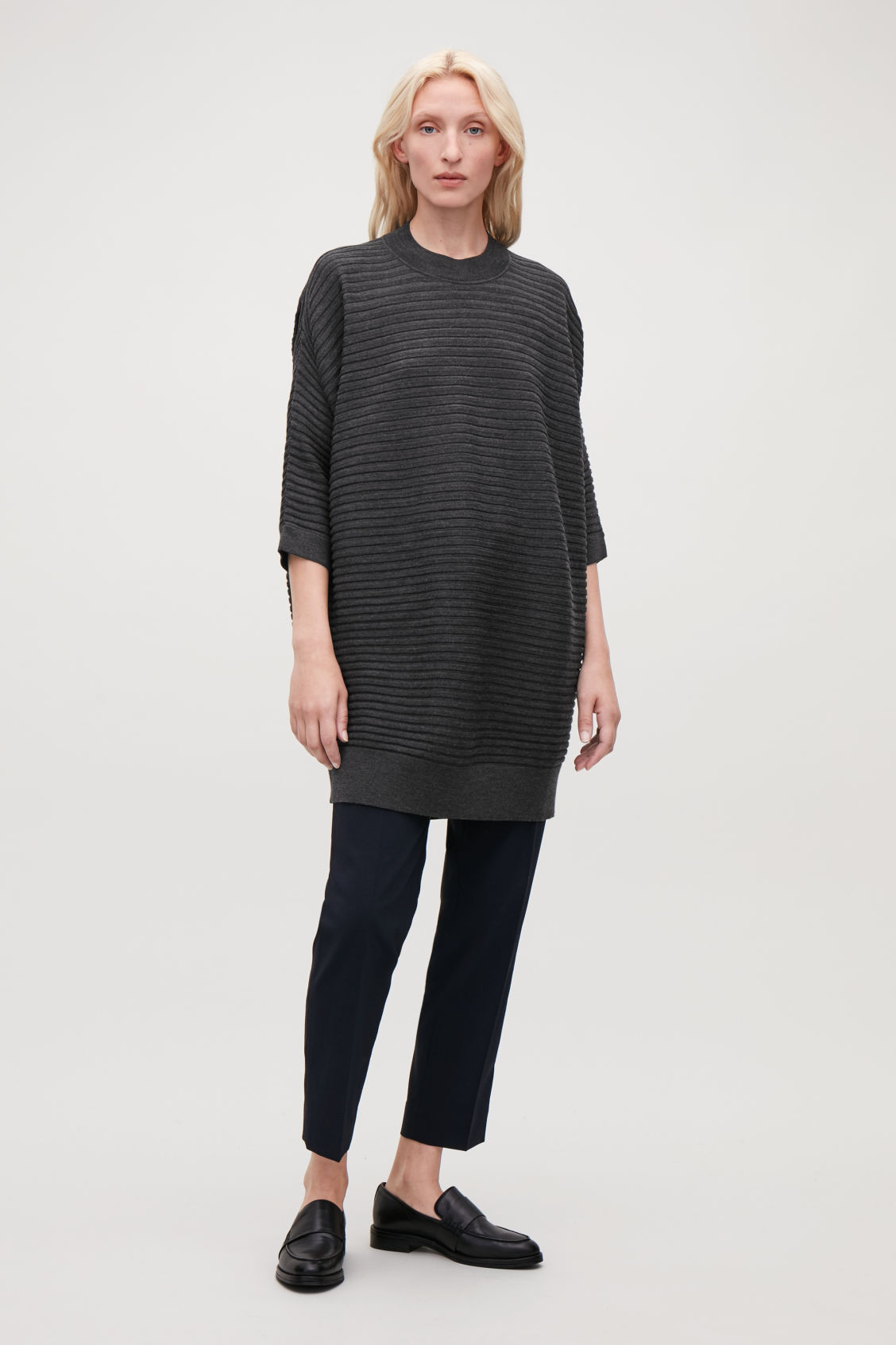 Model front image of Cos  voluminous wool rib-knit dress in grey