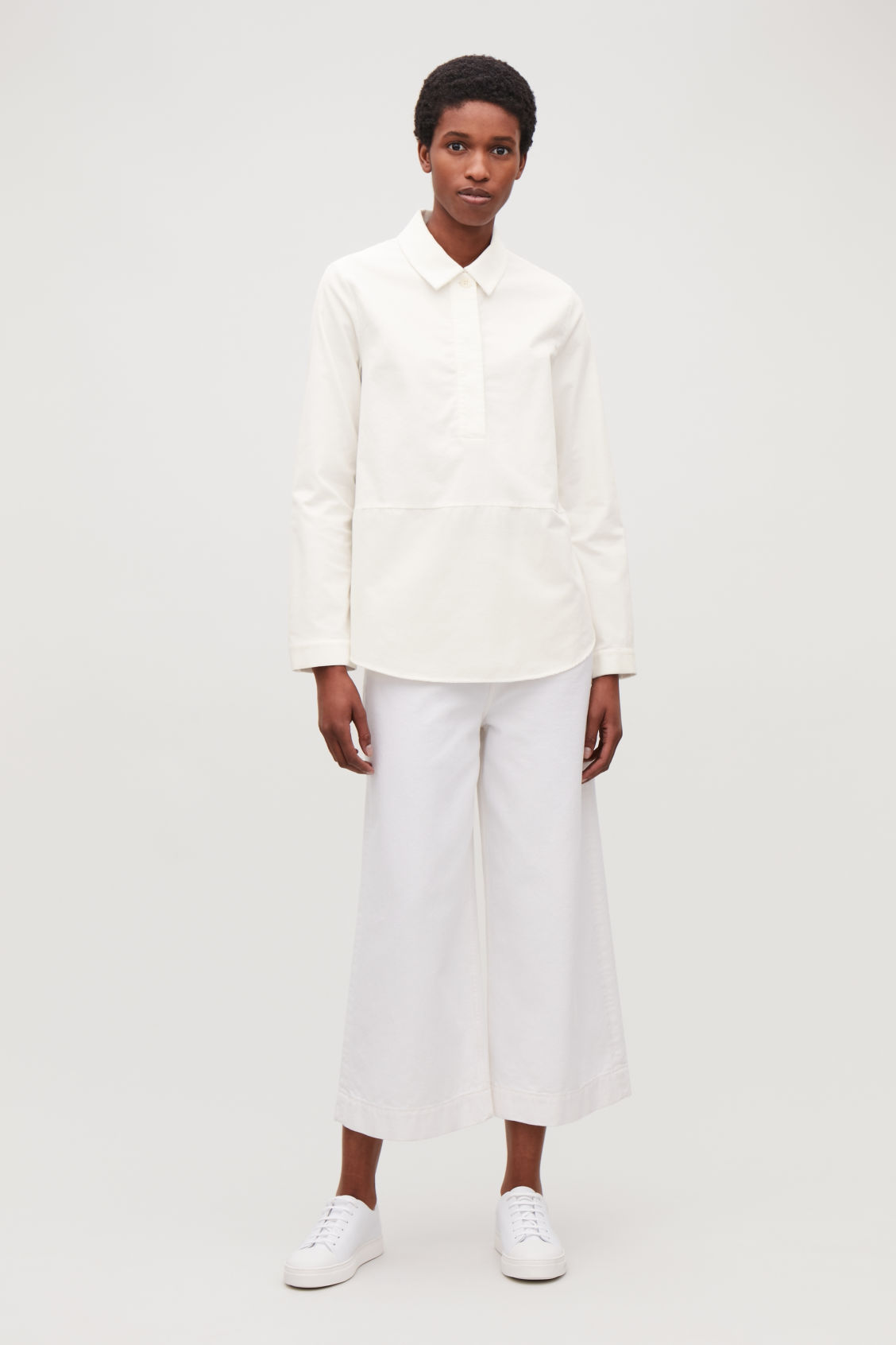 Model front image of Cos corduroy overshirt in white