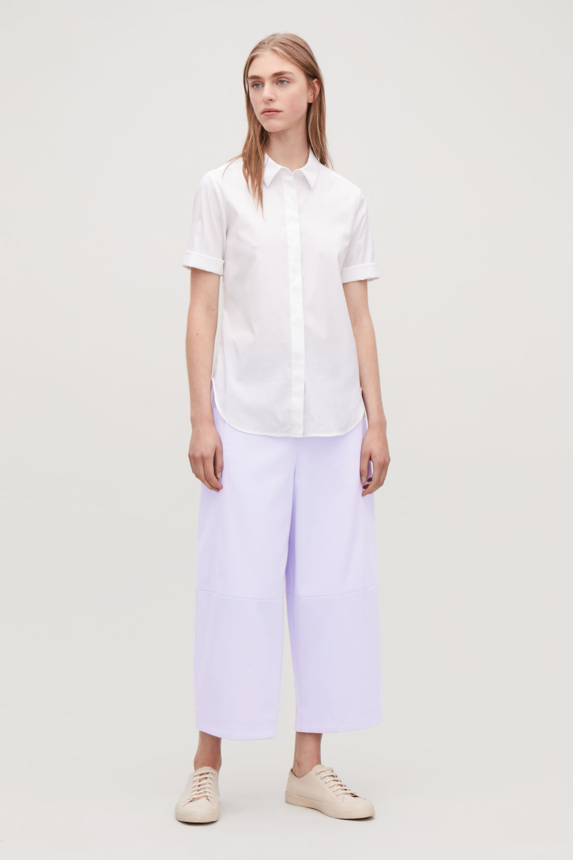 Model front image of Cos structured cotton-twill chinos in purple