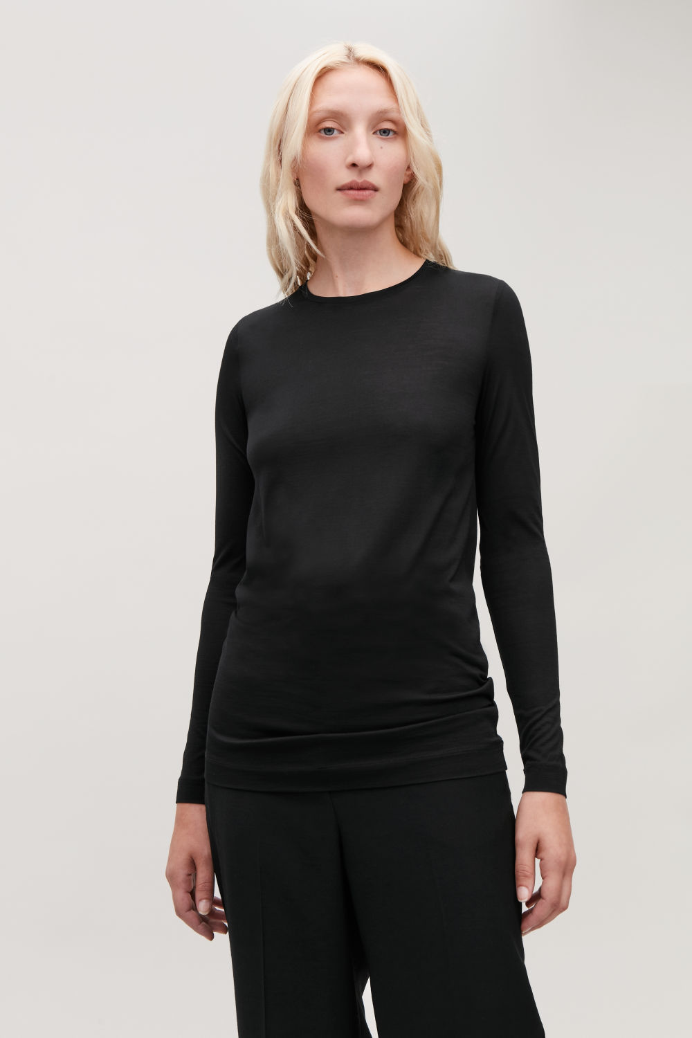 SILK JERSEY LONG-SLEEVED TOP