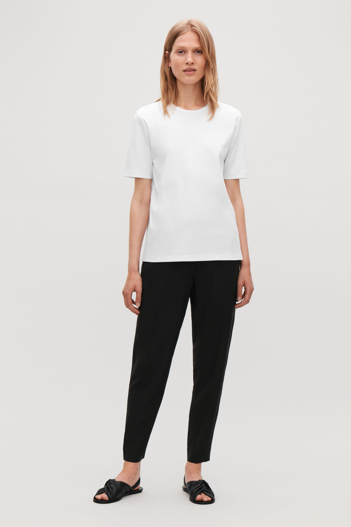 Model front image of Cos round-neck jersey t-shirt in white