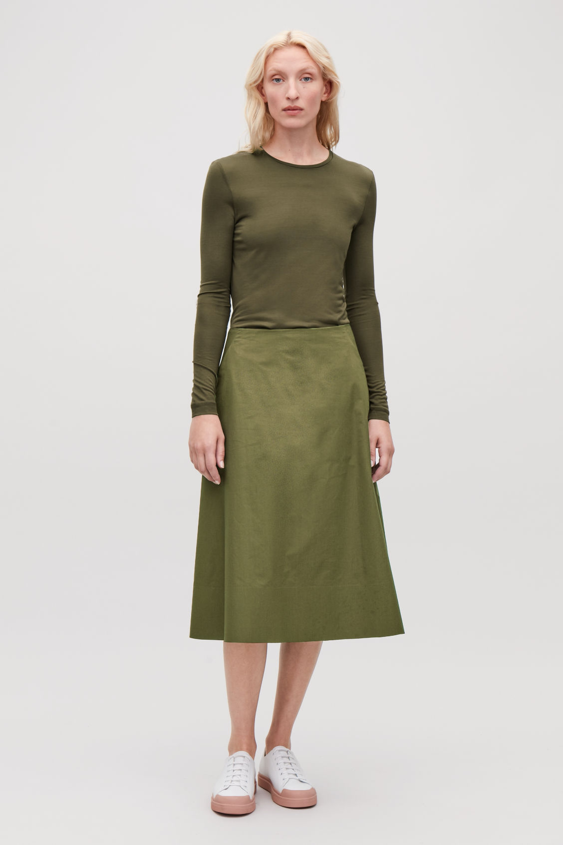 Model front image of Cos silk long-sleeved top in green