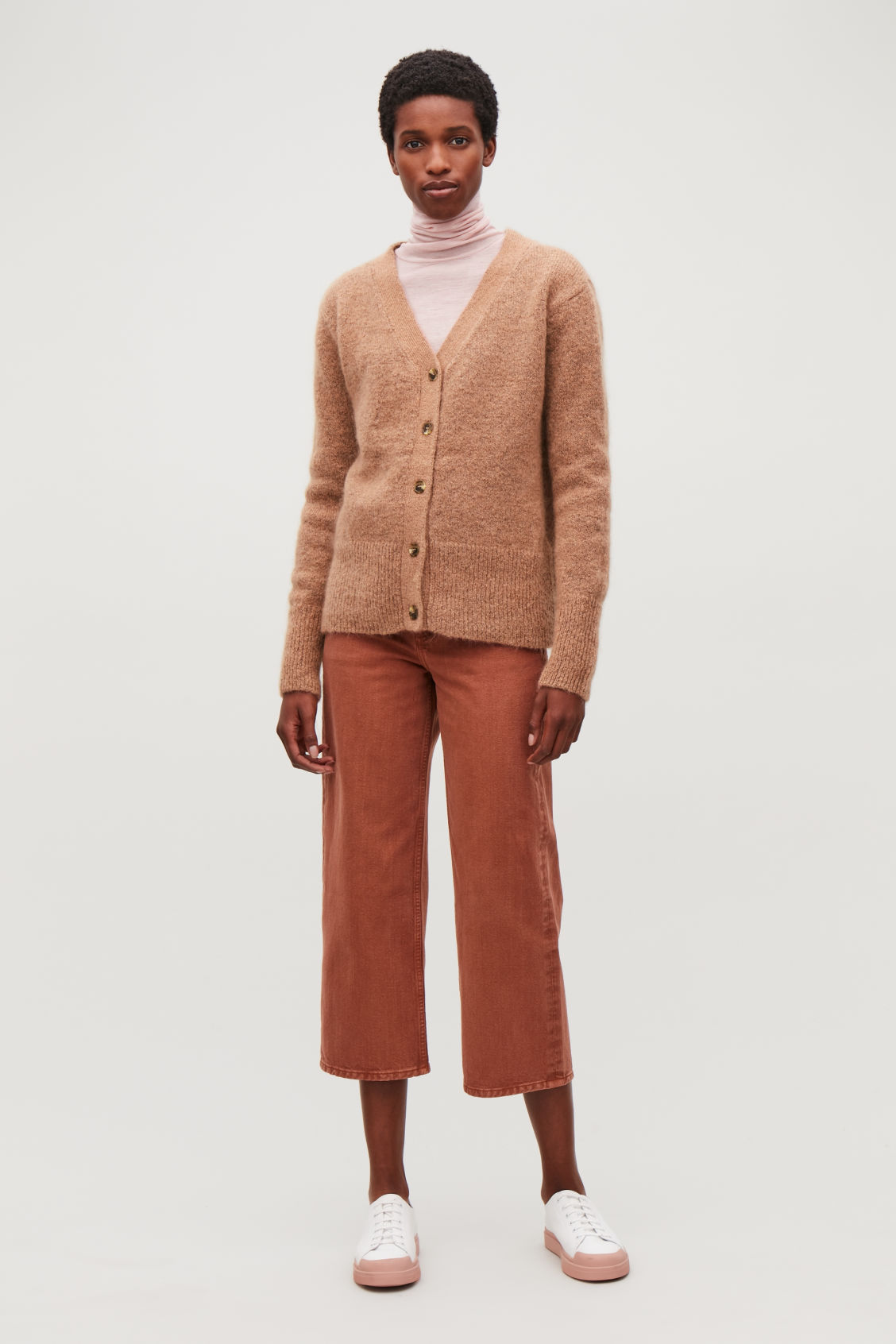 Model front image of Cos textured wool cardigan in pink