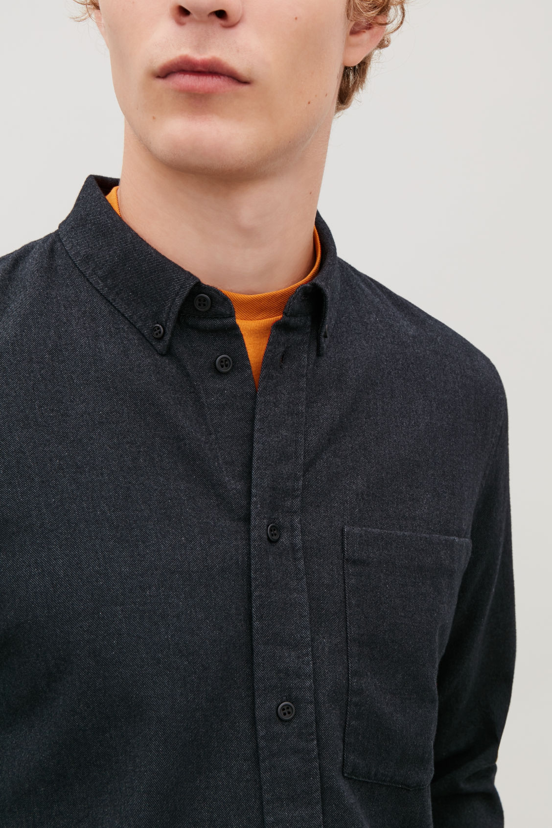 Model side image of Cos flannel shirt with pocket in grey