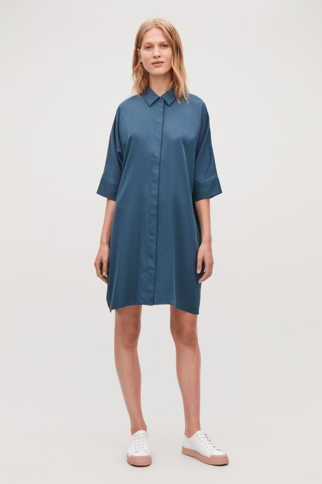 Model front image of Cos shirt dress with circle-cut back in blue