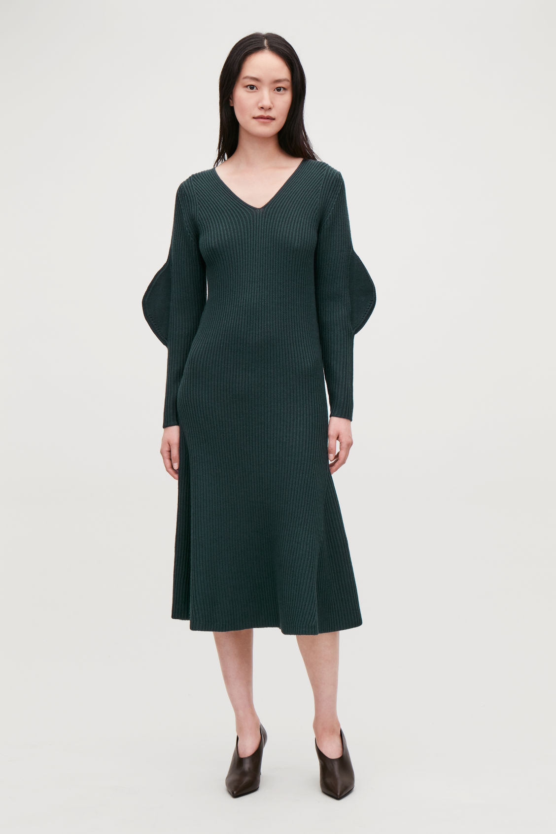 Model front image of Cos shaped rib-knit wool dress in green