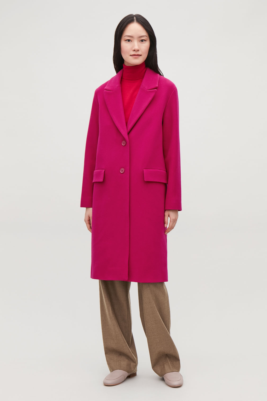 Model front image of Cos coat with oversized lapels in pink