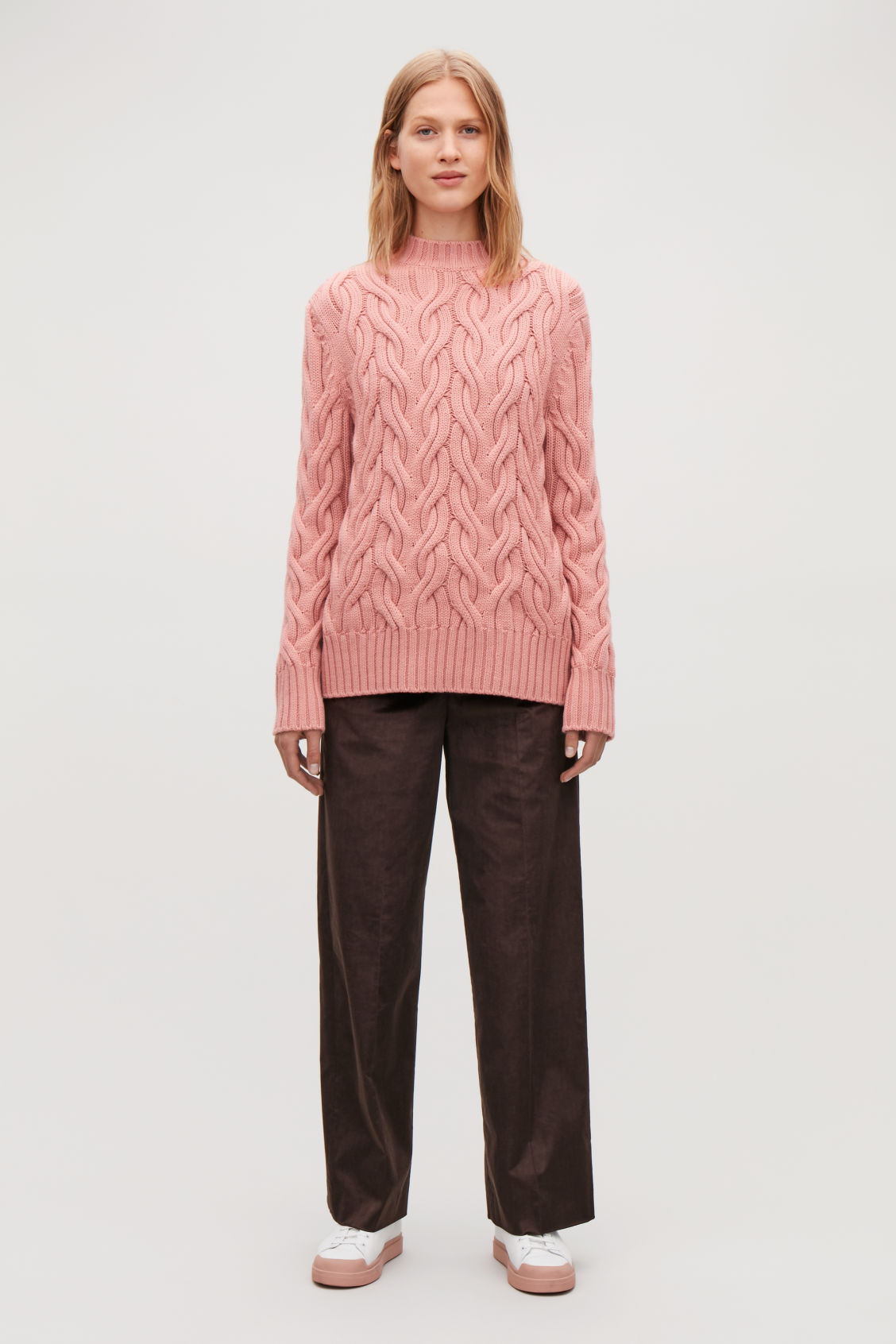 Model front image of Cos cable-knit wool jumper in pink
