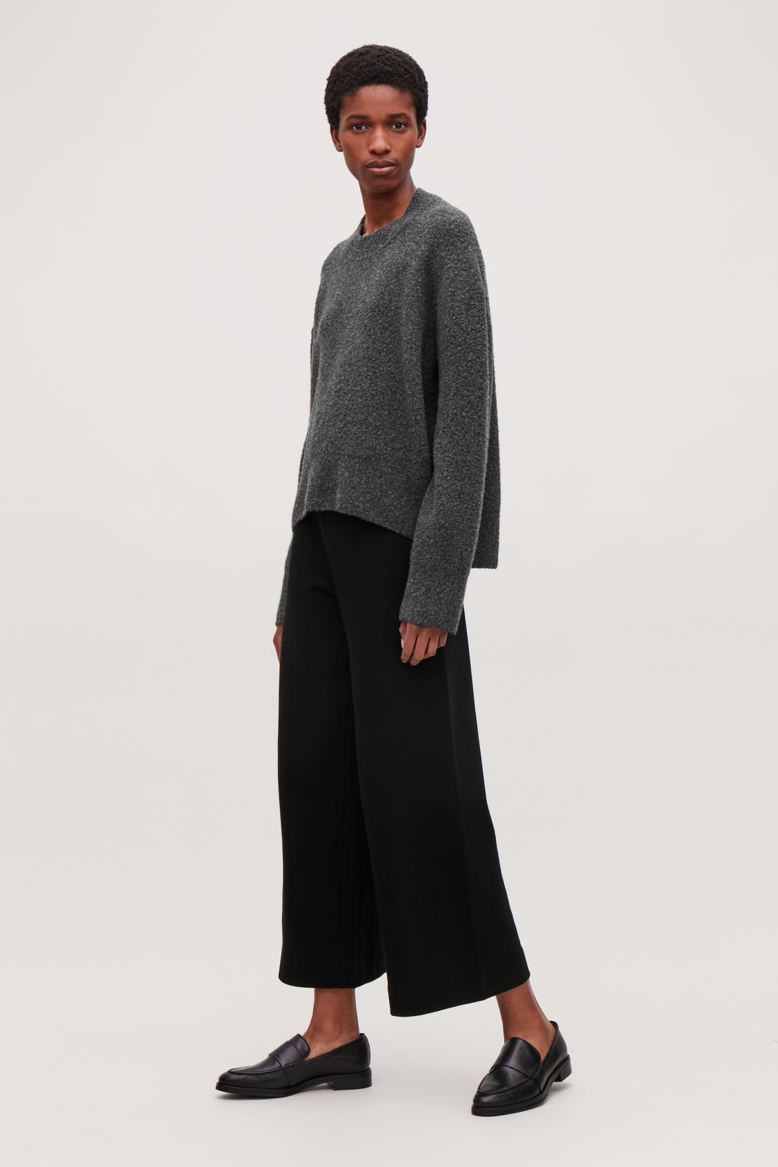 Model front image of Cos oversized wool-boucle jumper in grey