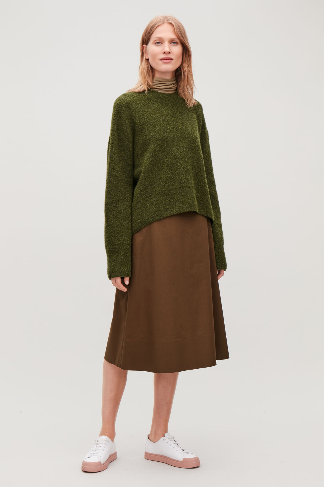 Model front image of Cos oversized wool-boucle jumper in green