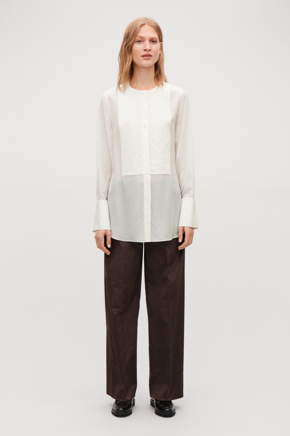 Model front image of Cos silk-blend shirt with bib front in neutral