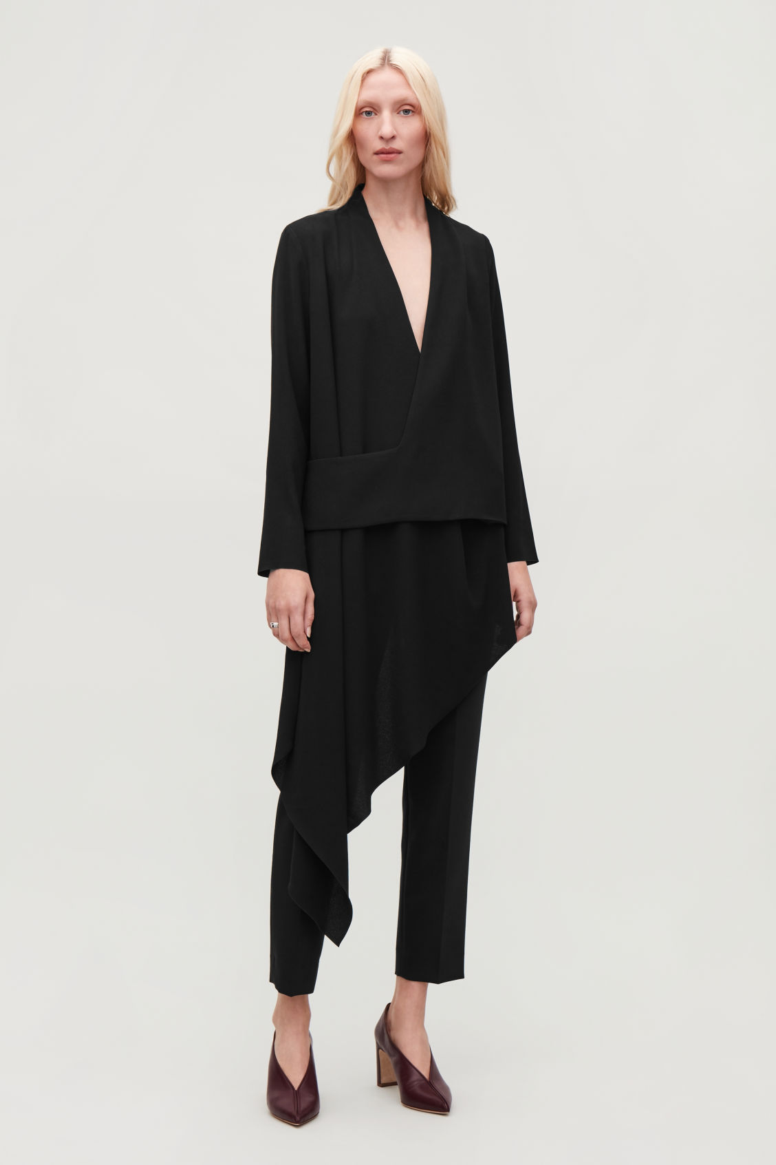 Model front image of Cos draped wrap top in black