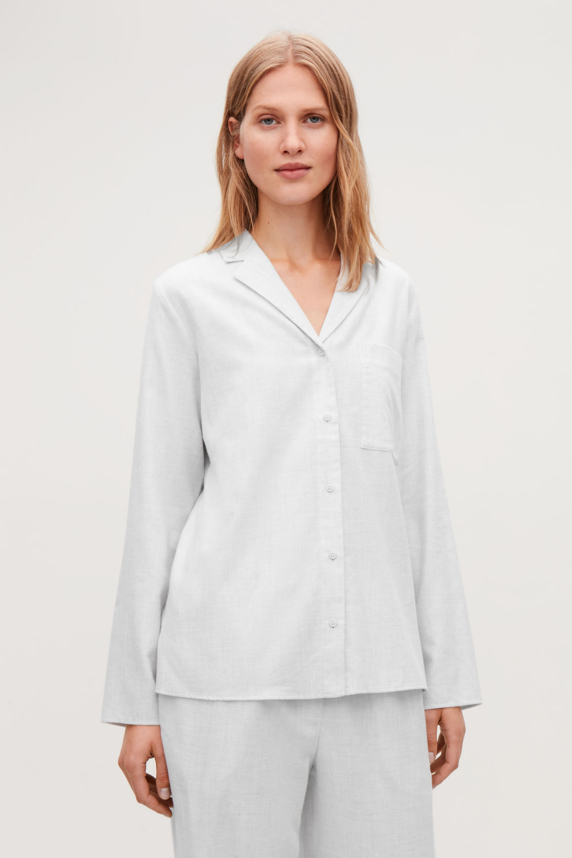 Model side image of Cos cotton-flannel pyjama shirt  in grey