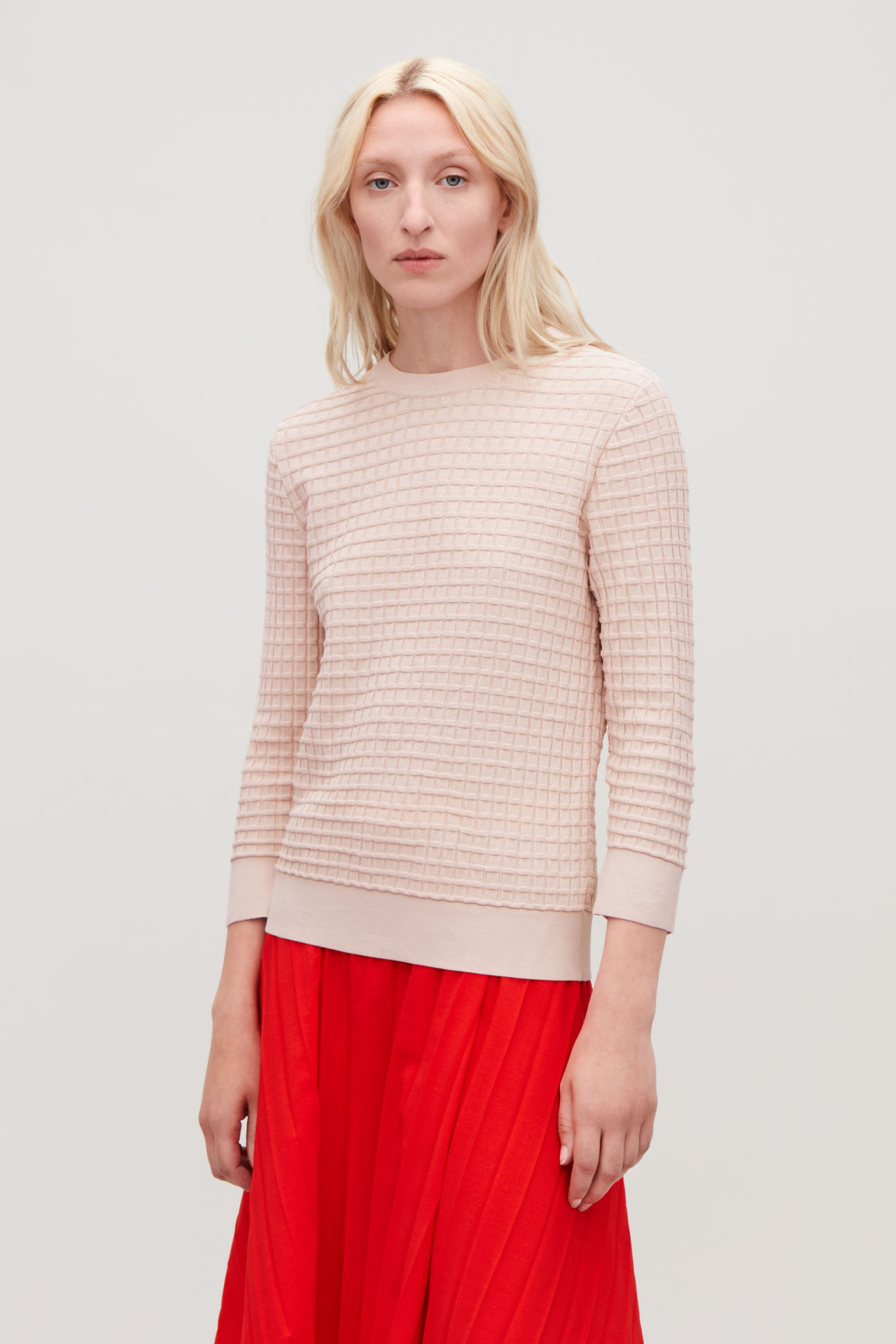 Model side image of Cos waffle-stitch cotton jumper  in pink