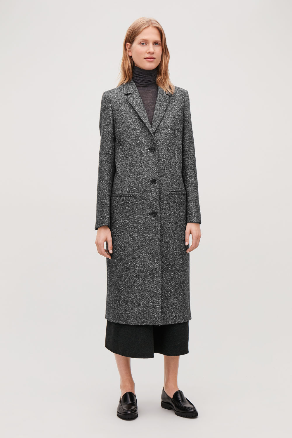 Coats Jackets Women Cos Tendencies Short Shirts Basic Long Collar Less Wine Burgundy S Herringbone Wool Coat