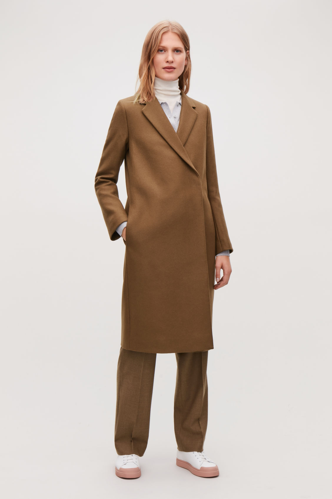 Model front image of Cos double-breasted wool coat in