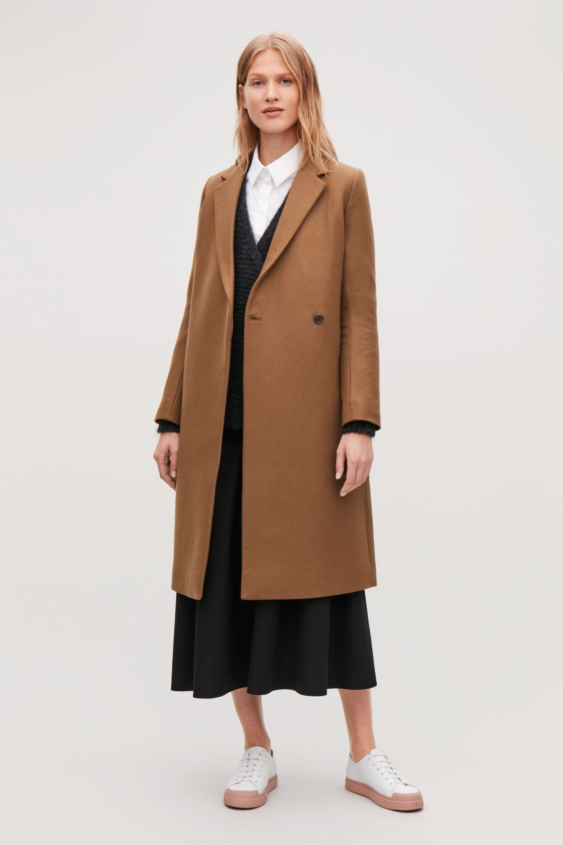 Model side image of Cos double-breasted wool coat in