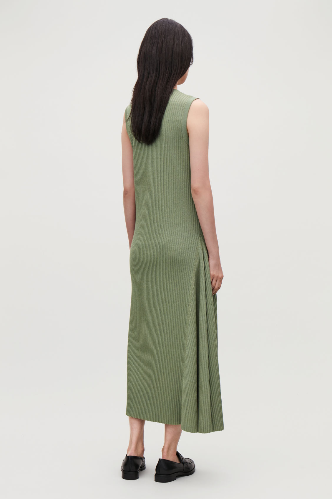 Model side image of Cos sleeveless cotton-rib dress in green