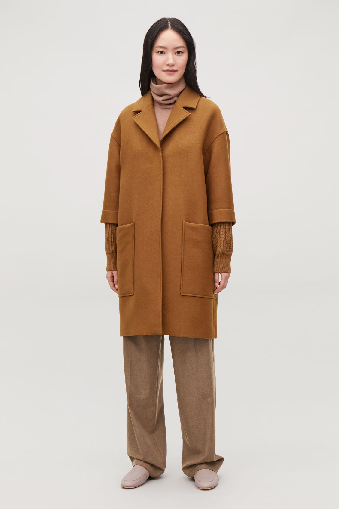Model front image of Cos rib knit-sleeved wool coat in brown