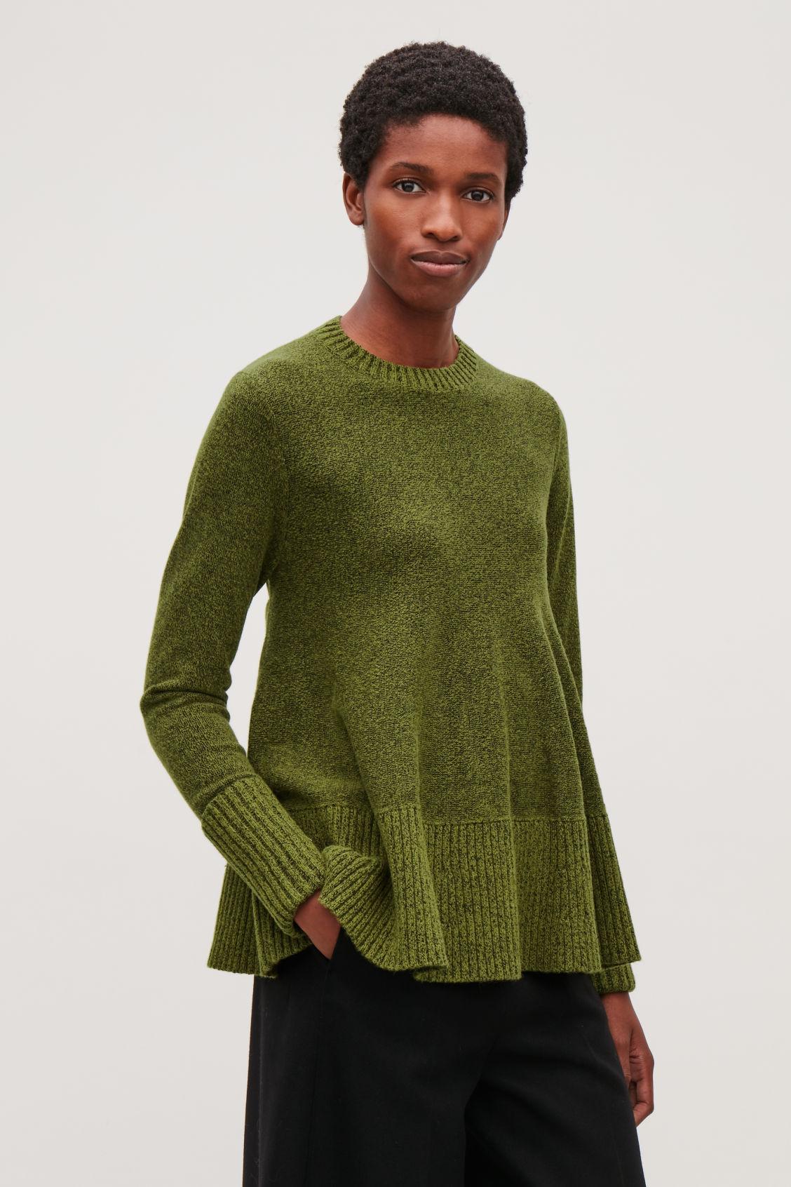 A LINE WOOL COTTON JUMPER Green melange Knitwear COS