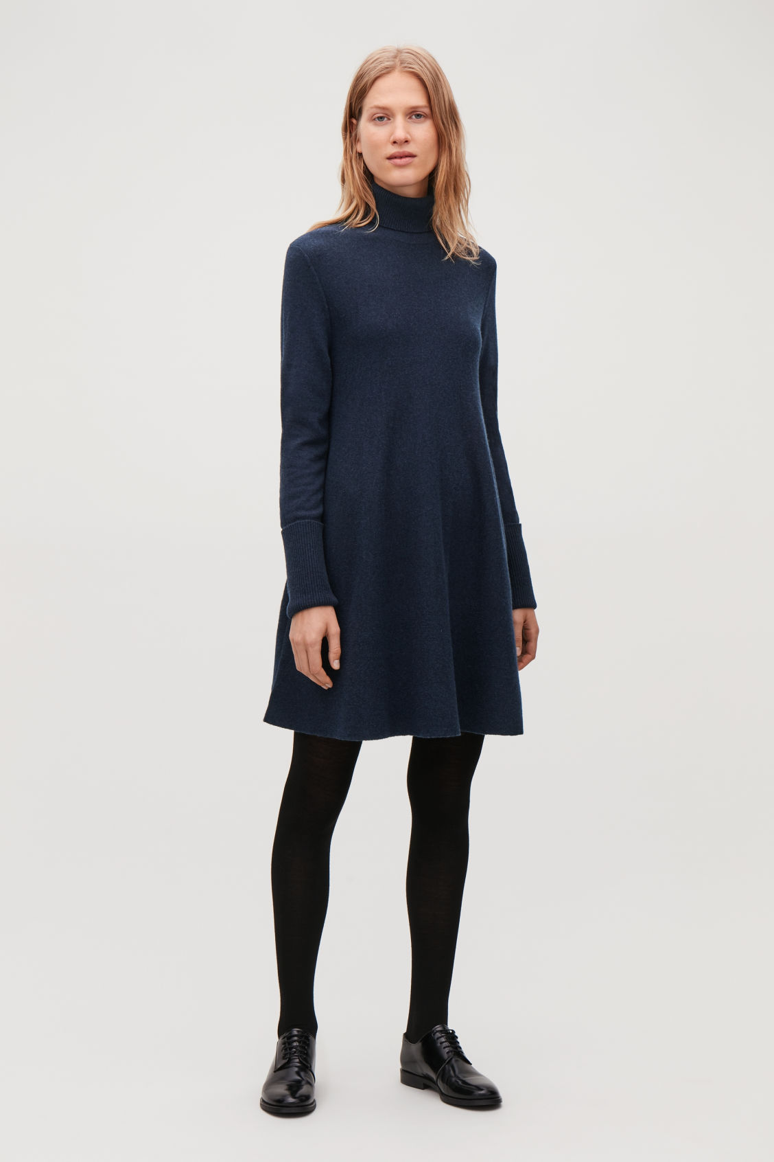 Model front image of Cos lambswool knit a-line dress in blue