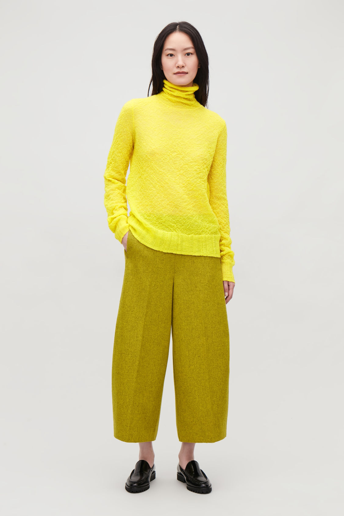 Model front image of Cos crinkled rib-knit top  in yellow