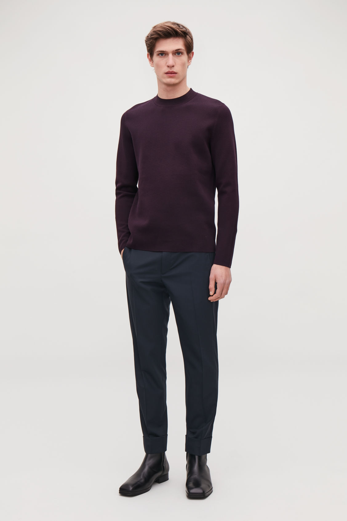Model front image of Cos mock-neck knitted jumper in purple