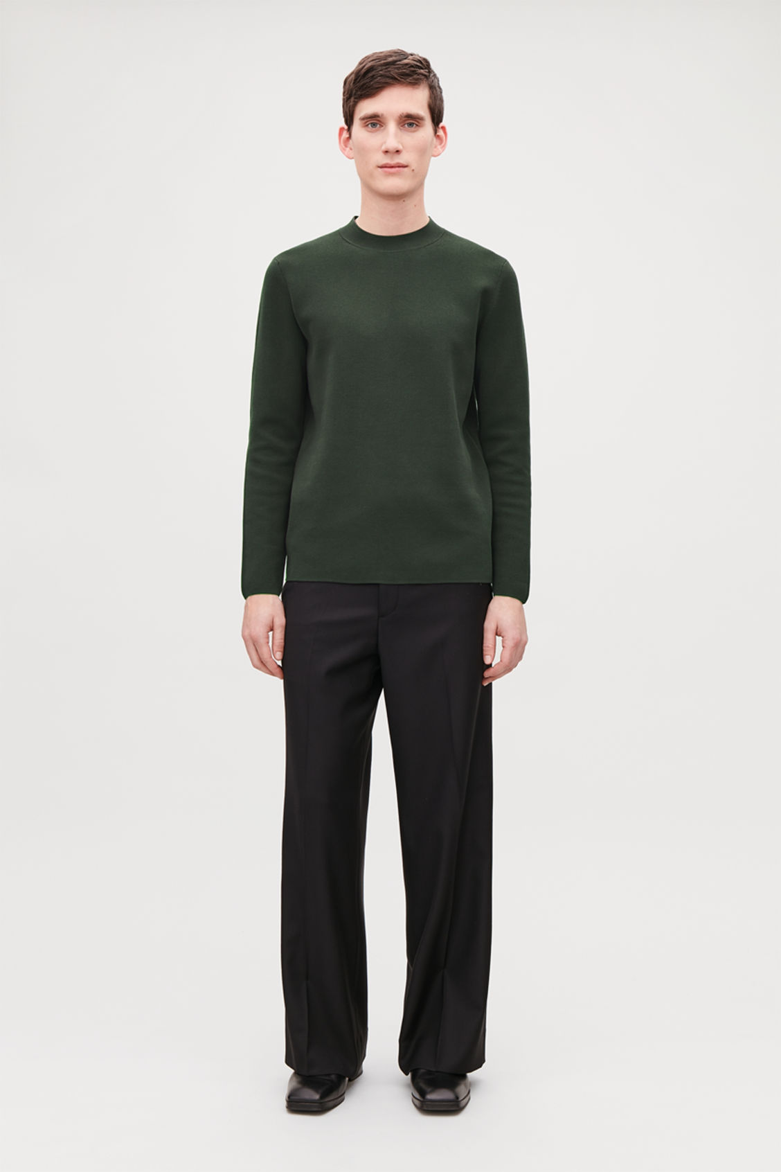 Model front image of Cos mock-neck knitted jumper in green