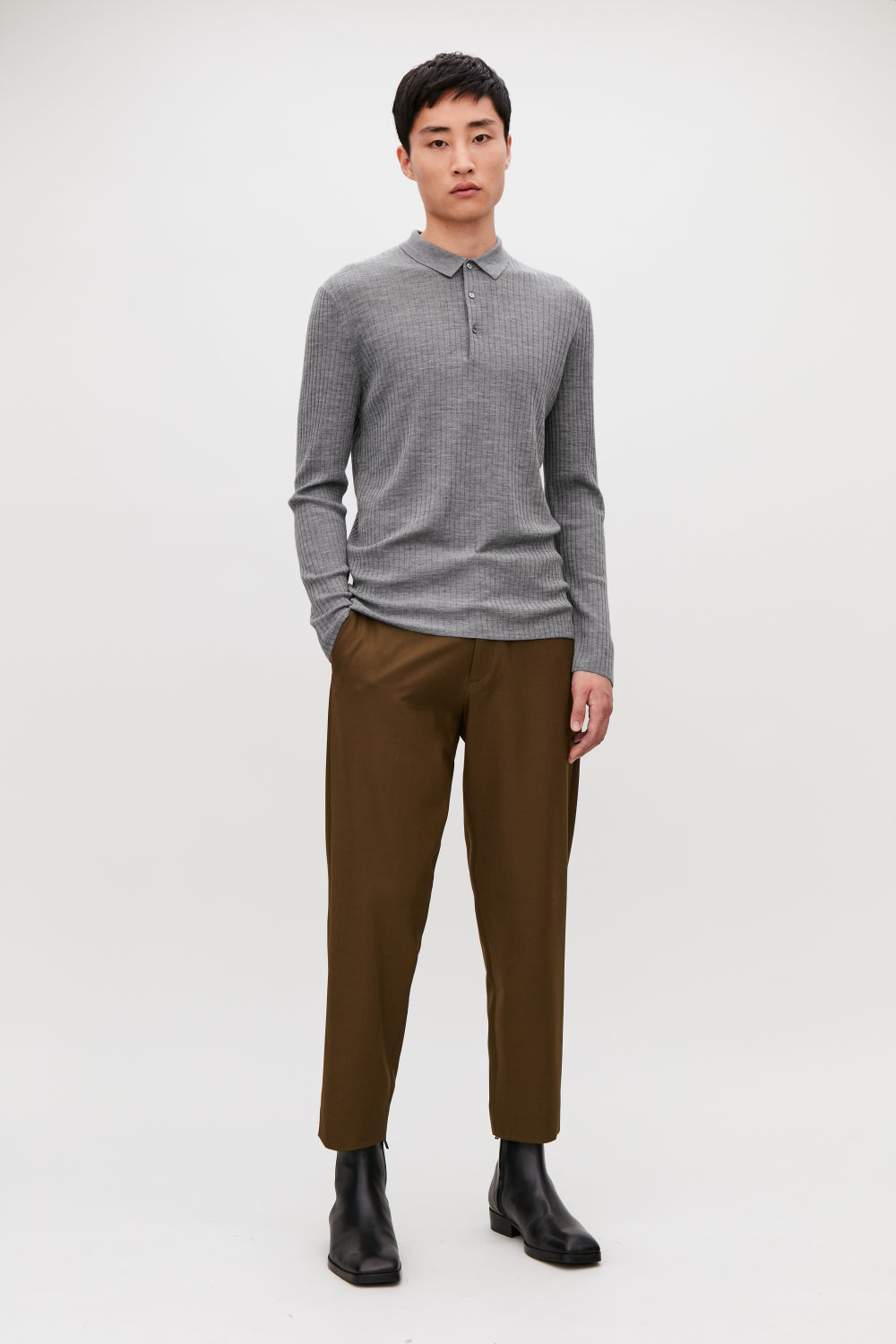 RIBBED LONG-SLEEVED POLO