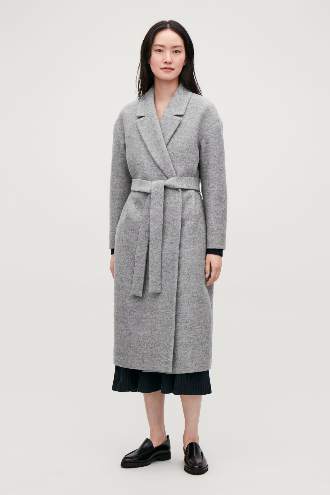 Model front image of Cos belted wool coat in grey