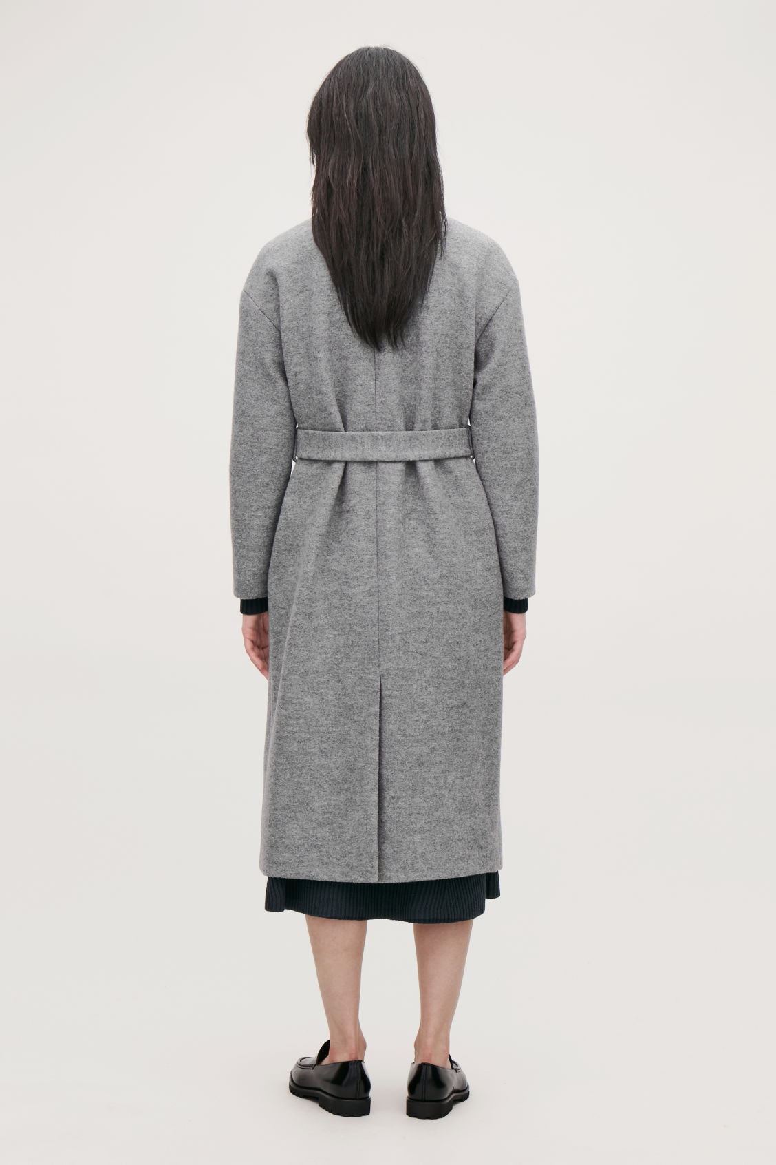 Model side image of Cos belted wool coat in grey