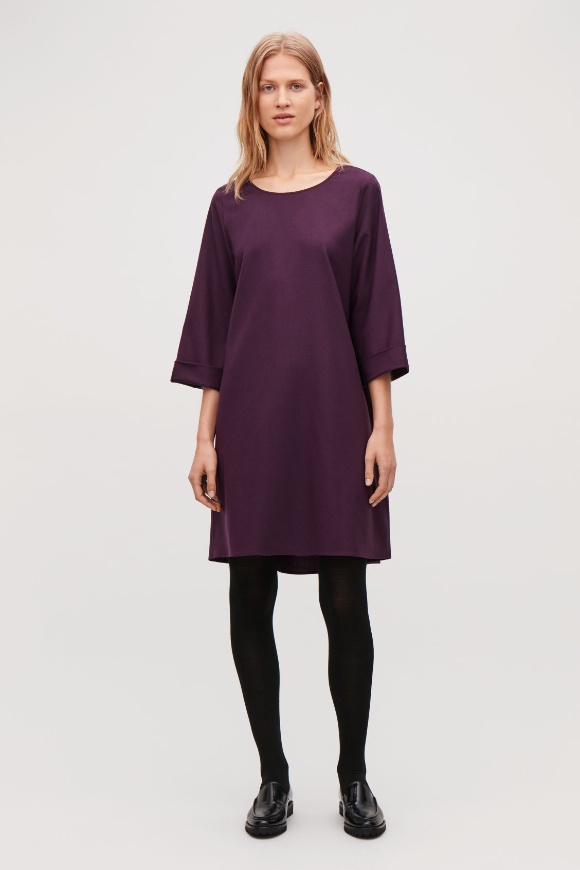 Model front image of Cos wool dress with turn-up cuffs  in purple