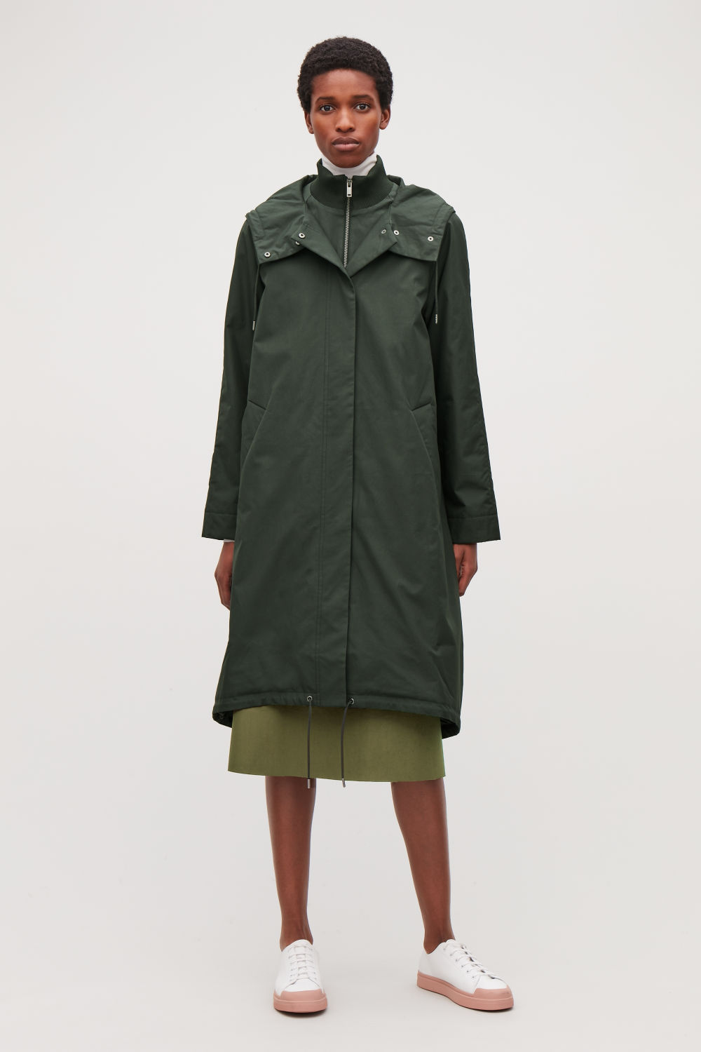 PADDED COLLAR-LAYERED PARKA