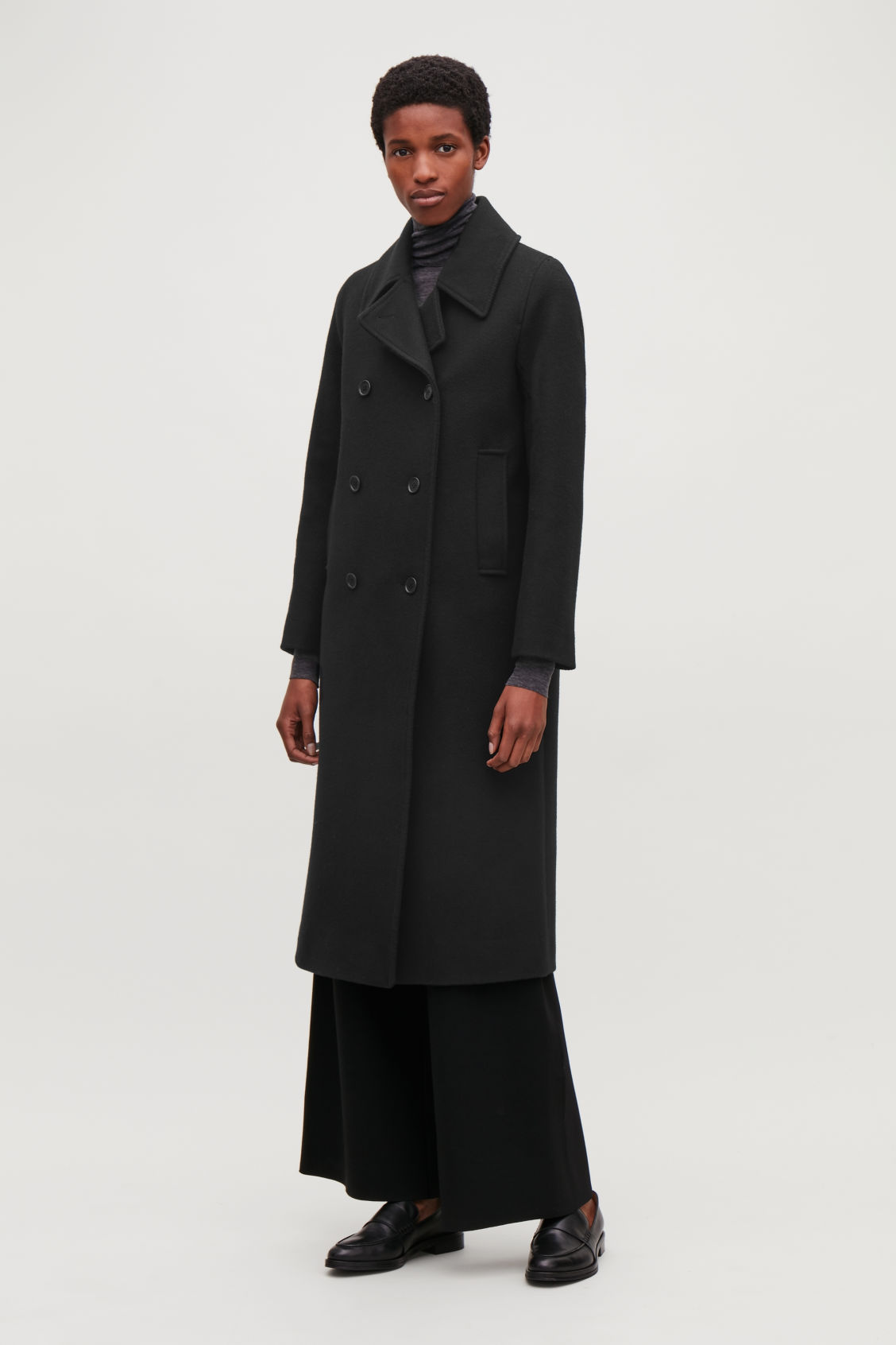 Model front image of Cos long wool pea coat in black