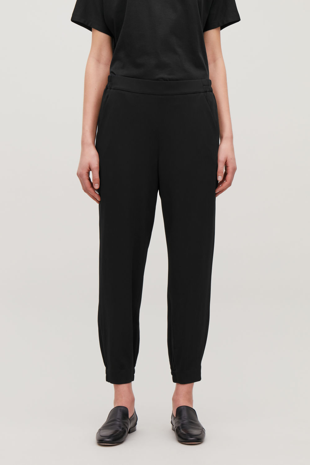 ELASTICATED STRETCH-TWILL TROUSERS