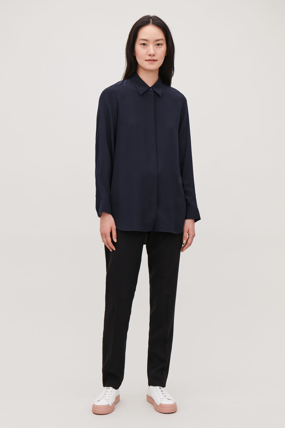 Model side image of Cos long cocoon silk shirt in blue